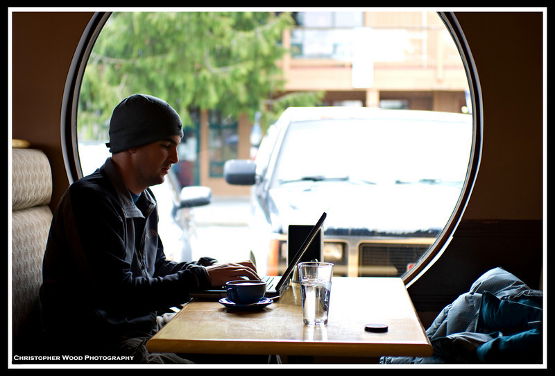 Writing a proposal in a cafe in Tofino