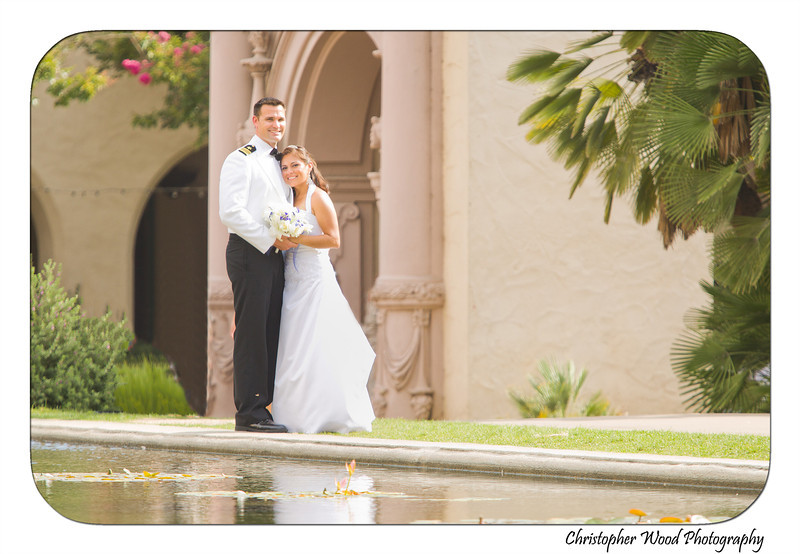 Balboa Park Reflecting Pond Wedding Portrait